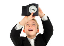 Kid with the Clock Royalty Free Stock Image
