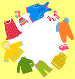 Kid clothes set and frame Stock Photo