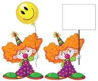 Kid clown with baloon and blank sign Royalty Free Stock Photos