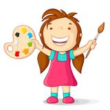 Kid with Color Pallet. Vector illustration of kid with color pallet and paint brush Stock Photography
