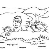 Kid coloring page. Hand drawn kid coloring page for kids Royalty Free Stock Image