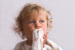 Kid with comfort blanket Stock Photography