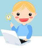 Kid and computer Stock Photo