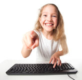 Kid with computer Royalty Free Stock Photos