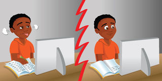 Kid computer homework Stock Image