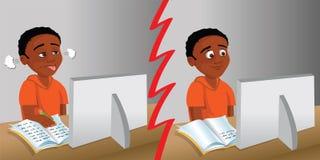 Kid computer homework Stock Image