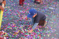 Kid with Confetti Stock Images