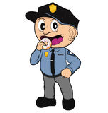 Kid Cop. Illustration of a kid cop about to devour a sweet donut Stock Images