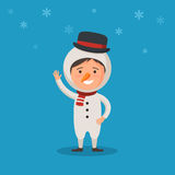 Kid in a costume snowman Royalty Free Stock Photo