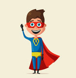 Kid in costume of superhero. Cartoon vector illustration Royalty Free Stock Photography