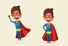 Kid in costume of superhero. Cartoon vector illustration. Hero character. Justice and help. For banners and posters. Cute child Royalty Free Stock Image