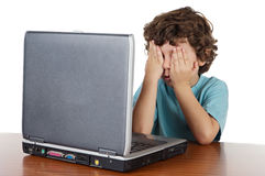 Kid covering his eyes Stock Photography