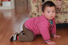 Kid crawling on the floor. Cute chinese child crawling on the floor royalty free stock images