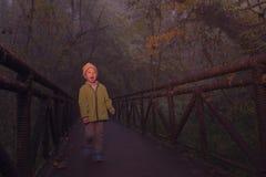 Kid crossing bridge in misty forest Royalty Free Stock Image