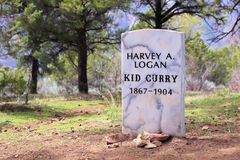 Kid Curry Headstone. The headstone to memorialize the notorious Kid Curry Glenwood Springs, CO with a light snowfall Stock Images