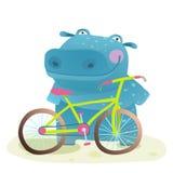 Kid Cute Hippo with Bicycle Childish Cartoon Stock Image