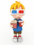 Kid with 3d glass, popcorn and drinks Royalty Free Stock Images