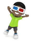 Kid with 3d glass Stock Images