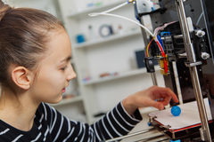 Kid with 3d printe. education, technology, Stock Photography