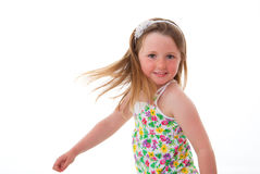 Kid dancing. Cute little girl kid or child dancing Royalty Free Stock Images