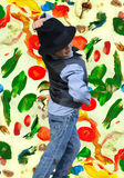 Kid dancing. Child dancing on a colorful background Stock Photography