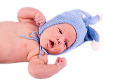 The kid in a dark blue cap Stock Images