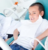 Kid at the dentist Stock Photo