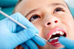 Kid at the dentist Royalty Free Stock Image