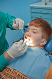 Kid at dentist inspection Royalty Free Stock Image