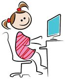 Kid with desk top. Isolated line art cartoon image Royalty Free Stock Photos
