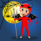 Kid devil halloween costume full moon Royalty Free Stock Image