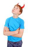 Kid with Devil Horns Stock Photo
