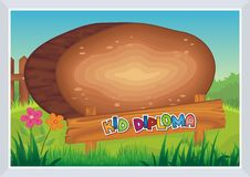Kid Diploma - Wooden Style Royalty Free Stock Image
