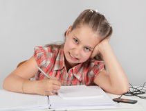 Kid disliking school homework Royalty Free Stock Photos