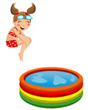 Kid Diving Bomb into Inflatable Pool stock image