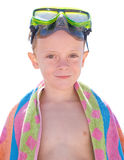 Kid with diving glasses. On summertime Royalty Free Stock Images
