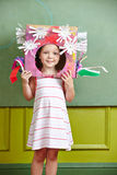 Kid with DIY costume for carnival. Female kid with DIY costume for carnival in kindergarten stock images