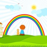Kid and Dog. Illustration of kid and dog sitting in park viewing rainbow Royalty Free Stock Photos