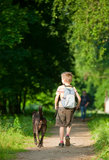 Kid with a dog Royalty Free Stock Photos