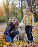 Kid and dog in autumn park Stock Images