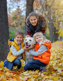 Kid and dog in autumn park Stock Image