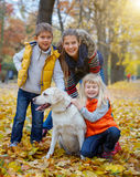 Kid and dog in autumn park Royalty Free Stock Photography