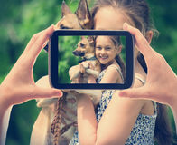 kid and a dog Stock Photography