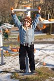 Kid doing fitness outdoor Royalty Free Stock Image