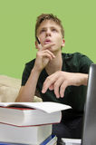 Kid doing homework, problem solving Royalty Free Stock Photos