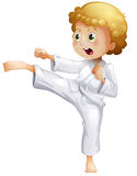 A kid doing karate. Illustration of a kid doing karate on a white background Stock Photos