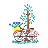 Kid doodle of bicycle with blue flowers in floral basket near tree with leaves isolated on white background. Children drawing felt-tip pen of summer or spring Stock Photos