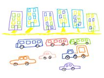 Kid doodle of city landscape with multistorey buildings and traffic on road isolated on white background. Children drawing felt-tip pen of town skyline and vector illustration