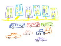 Kid doodle of city landscape with multistorey buildings and traffic on road isolated on white background. Children drawing felt-tip pen of town skyline and stock illustration