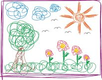 Kid drawing. A baby drawing of a beautiful sunny day at the park Stock Photos